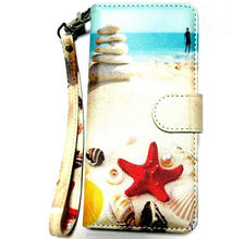 Luxury ocean style wallet magnetic leather case for Galaxy Note 8 with lanyard