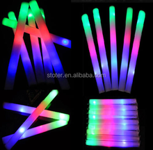 Multicolor LED Light Up Foam Sticks Flashing Glow Tube Wands Cheer Rally Batons