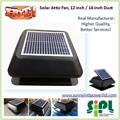 15 watt inbuilt Solar Panel Powered 14 inch Roof mounted Turbine Ventilation Air Exhaust Fan