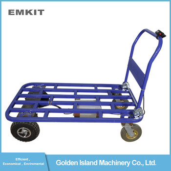 motorized battery powered folding platform hand trolley