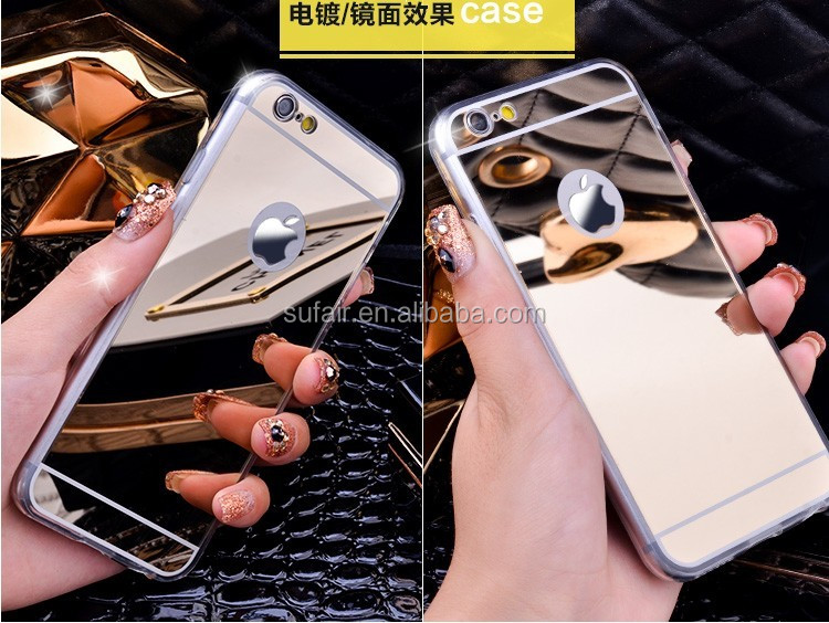 Fashion Electroplating Mirror Aluminum Metal For iPhone 6 For iPhone 7 Case Silicone Phone Case