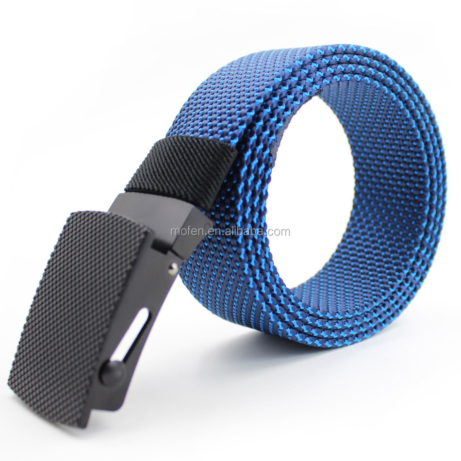 Blue Sports Outdoor Braided Nylon Flat Belt With Metal Buckle