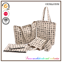 Custom canvas bag female Han edition environmental protection shopping lash women Full version printing six in one set bags
