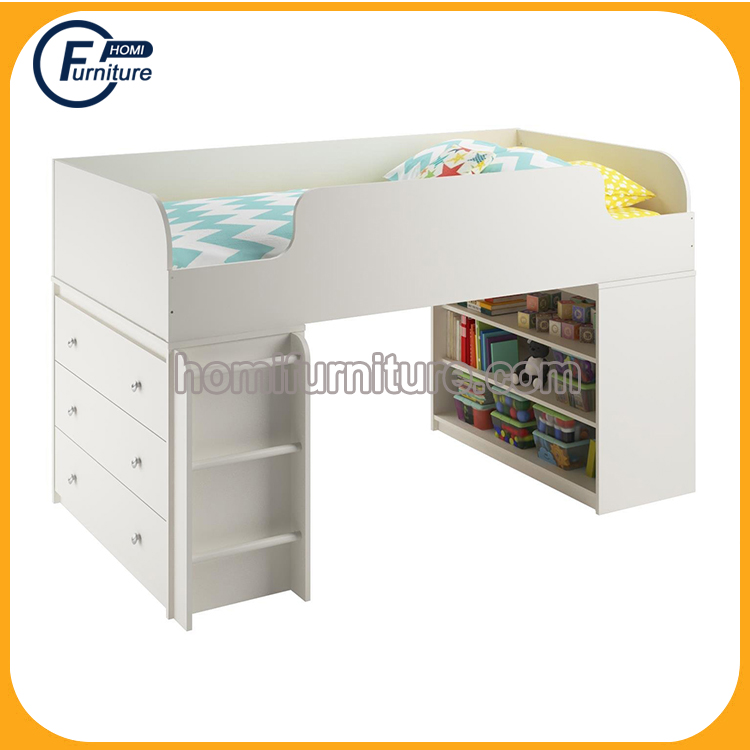 Products Elements Wood Low Loft Bed with Bookcase and Toy Box
