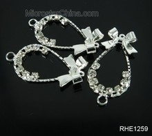 Fashion tie design crystal charms bracelet beads for rhinestone jewelry connector