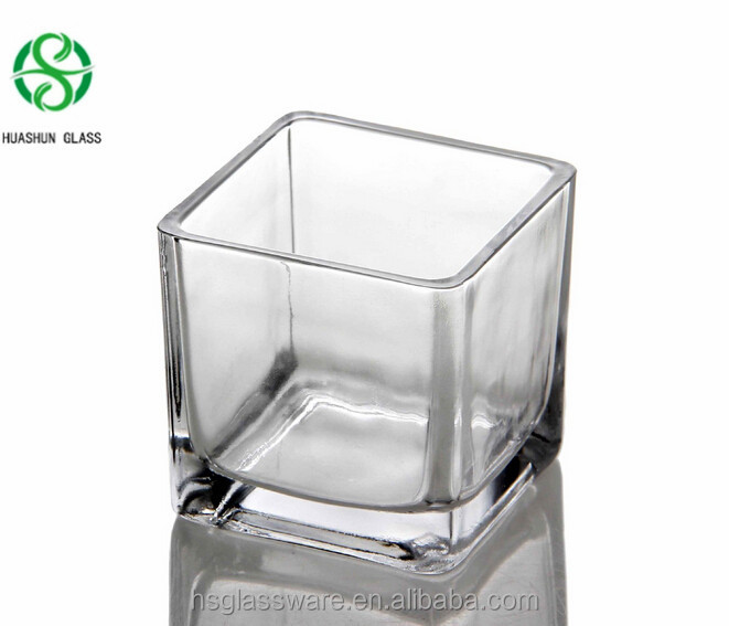 Clear Square Glass Candle Holder Cube Glass Vase for Home Decoration