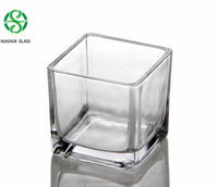 Clear Square Glass Candle Holder / Cube Glass Vase for Home Decoration