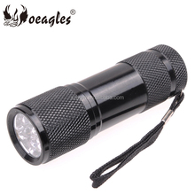 2018 Promotion 9 LED Purple Light 395-400nm UV Flashlight