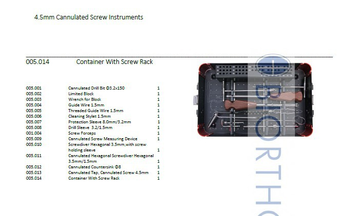 4.5 Cannulated Instruments Set, Orthopedic Instruments Surgical Instruments