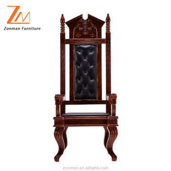 Genuine Leather High Back Solid Wood Church Chair with wooden base