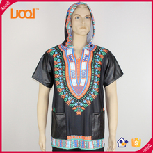 Afircan leather sleeves pockets hoodie men's dashiki t shirt