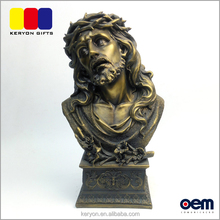 Decorative Custom Religious Figures Brass Finish Resin Jesus Figure Statue