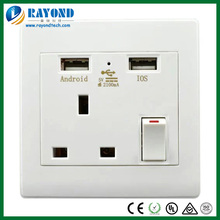 UK Type 13A/250V One Gang Switched Power Socket with 5V/2100mA Dual USB Charger