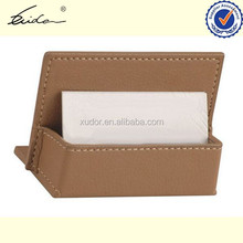 STAND UP LEATHER BUSINESS CARD HOLDER ON DESK TOP