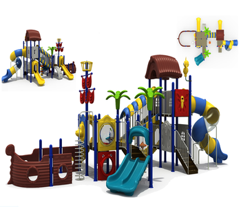 Hot sale Kids outdoor playground slides with rubber mats HF-G047B