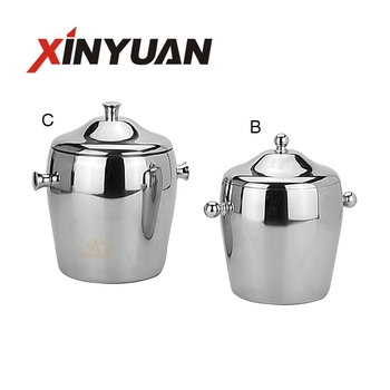 Elegant Style Bar Equipment double layer stainless steel champagne bucket