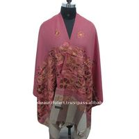 PINK KASHMIR CREWEL EMBROIDERED PURE WOOL SHAWL STOLE