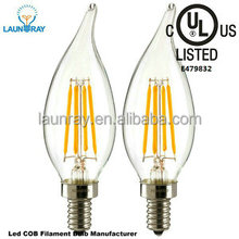 High Power 130lm/w Dimmer Compatible 4W 6W 8W 10W 12W LED Filament Candelabra Bulb C35 LED Candle Light Bulb