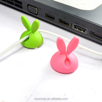 colorful rabbit style USB and power cable drop holder clip alligator cable clips