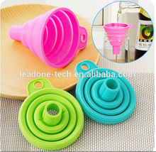 kitchen tools collapsible silicone rubber funnel colorful folding funnel Kitchen Tools