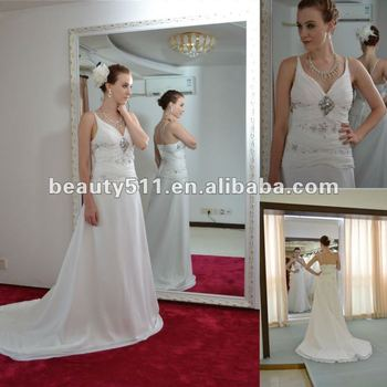 2017 new style bridal gowsn spaghetti straps chiffon Wedding Dress AS222