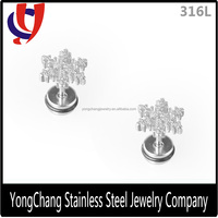 The factory price 316L stainless steel Line cut stud earring with beautiful snow shape for body piercing