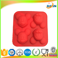 Silicone 4 in1 Mickey Mouse Cupcake Muffin Mold Chocolate Jelly Cake Pan Tin Mould