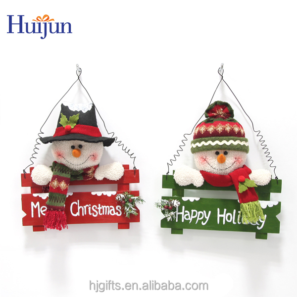 wooden christmas snowman decoration with red and green