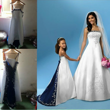 HF60002 royal blue and white vintage embroidery real sample flower girl dress of 9 years old
