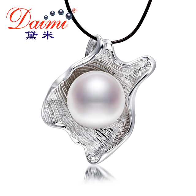 DAIMI 11-12MM Big Pearl Pendant 3 Color Unique Style Natural Freshwater Pearl Pendant Necklace