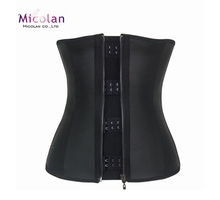 Women Corset Waist Training Corsets Black Latex Slimming 9 Steel Bone Body Shaper
