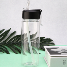 BPA free eco friendly clear plastic water bottle with silicone drinking straw