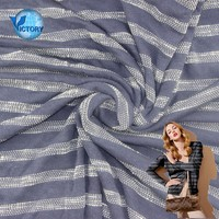 Knitted Weft Stripe Single Jersey Polyester Cotton Slub Uneven Yarn Celtaflam Plucked Fabric