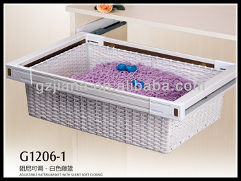 Furniture accessories wardrobe plastic rattan basket with soft close