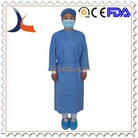 Disposable SMS surgical gown with velcro neck blue gown protective