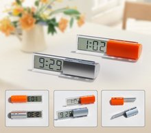 hot sale Hairong mini digital trasparent lcd clock for car or travel