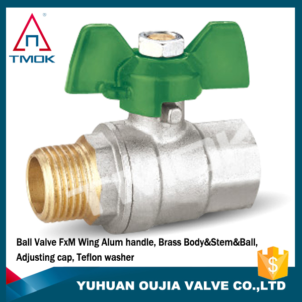 male/female brass ball valve 1/4'' inch brass union with butterfly handle brass valve and high quality