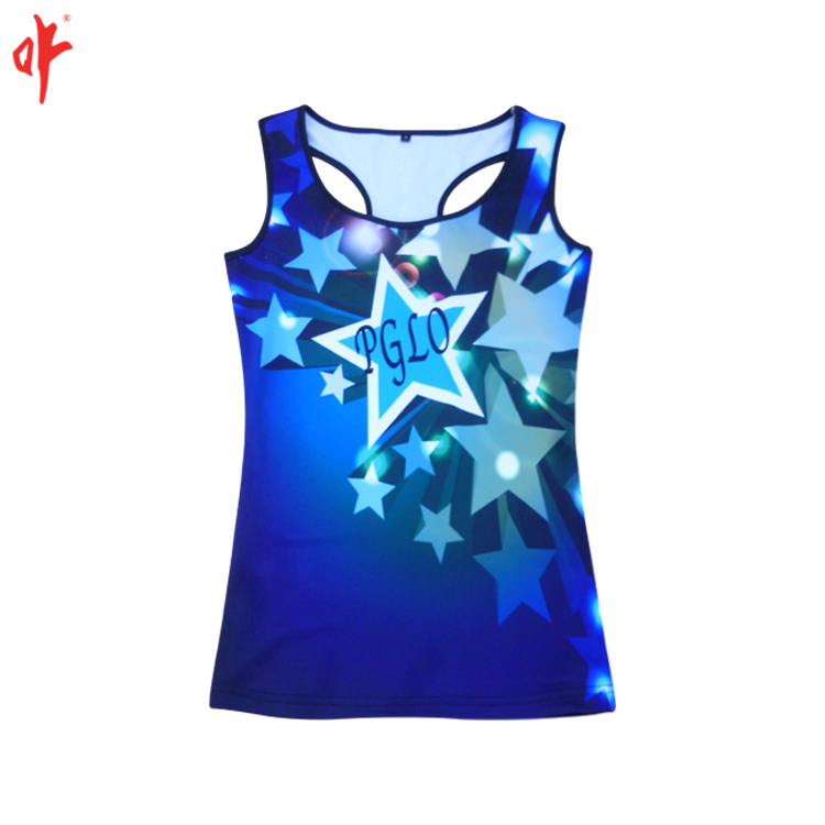 Sleeveless sublimation shining dress,short dress with race back,blue sky with stars blouse.
