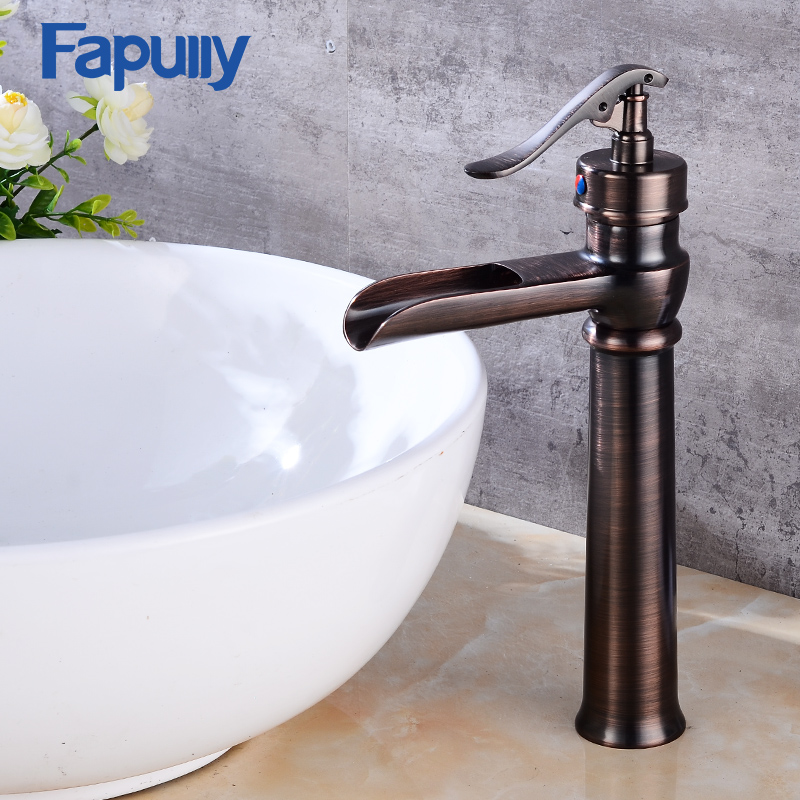 Fapully Oil rubbed bronze bathroom faucets tall basin faucet black sink mixer taps square single handle deck mounted water tap