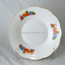 round ceramic plate with fruit design cheapest price from linyi city ,shandong ,China