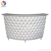 Cheap small nail salon diamond tufted front desk reception table counter white curved reception desk hotel spa counter bar