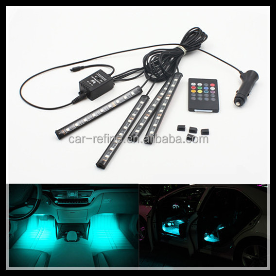 Car remote music voice Control Decorative LED Atmosphere Neon Light RGB Car Interior Footwell Light
