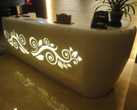 LED lighted solid sruface bar table/Artificial stone night club table