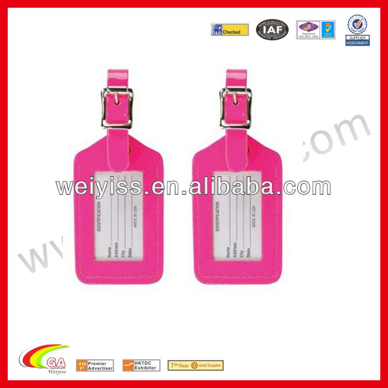 Hot-pink color pu luggage tag for traveling, travel lugage tag manufacturers & wholesales