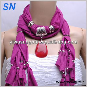 Red Stone Necklace Jewelry Scarf
