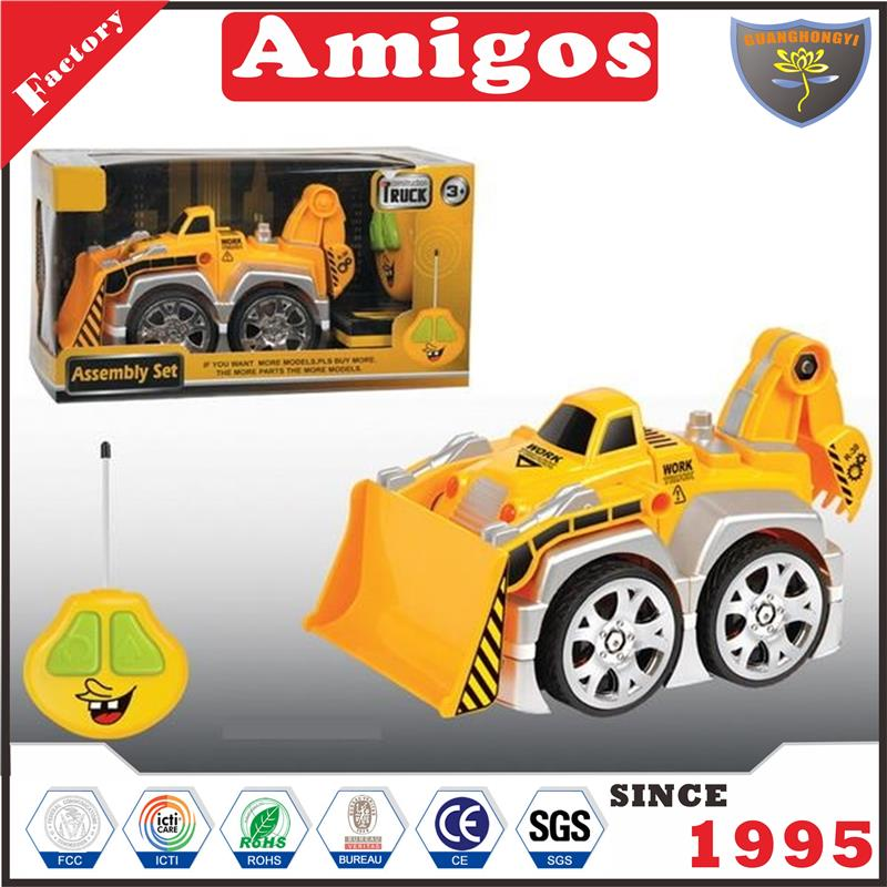 good 2 channel rc bulldozer with dismantled/with light/battery radio control engineering vehicle for kids