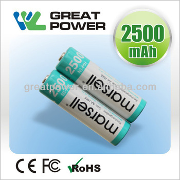 1.2V R6 2500mAh high temperature Rechargeable NiMH battery cell