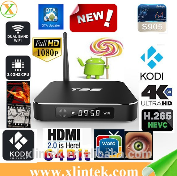 Wholesale t95 Amlogic s905 4K cable set top box KODI Android TV box