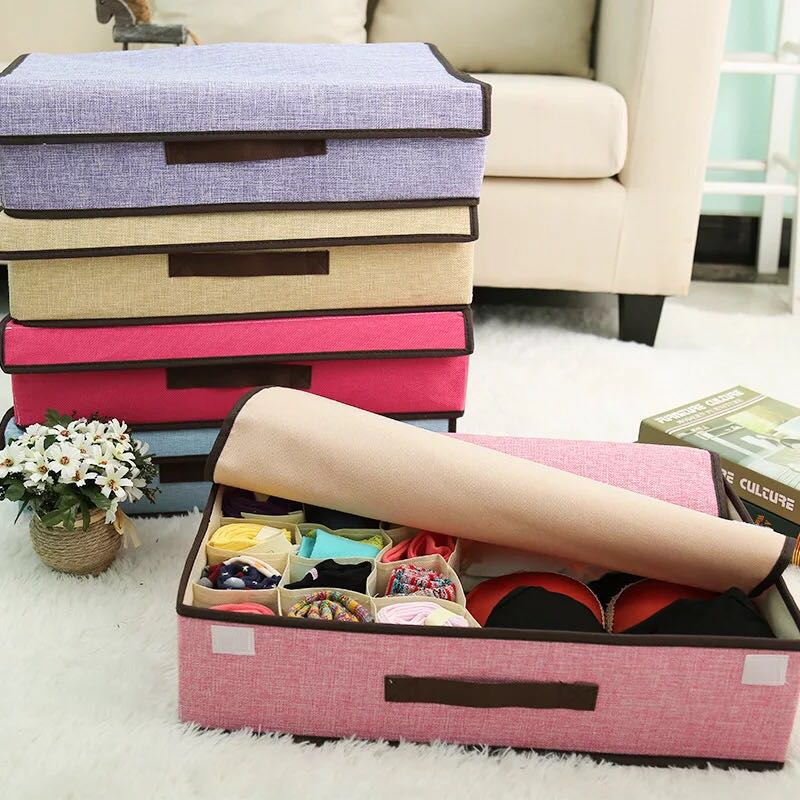 Linen Clothes/sock storage box colorful with handle