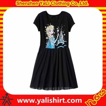 Hot sale custom comfortable cheap short sleeve cotton print high quality beautiful kids dress photo